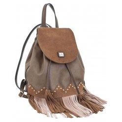 Сумка-рюкзак  YES, коричневий з бахромою, 25*21.5*21