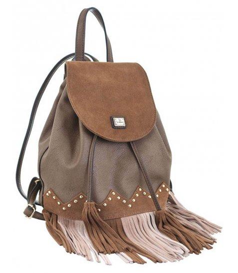 Сумка-рюкзак  YES, коричневий з бахромою, 25*21.5*21 - фото 1 з 5