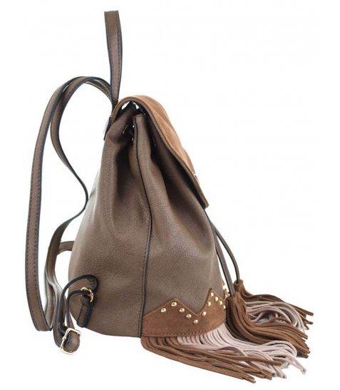 Сумка-рюкзак  YES, коричневий з бахромою, 25*21.5*21 - фото 2 з 5