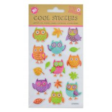 """Set of decorative stickers with foil embossing, """"Owls"""", 100*150mm"""