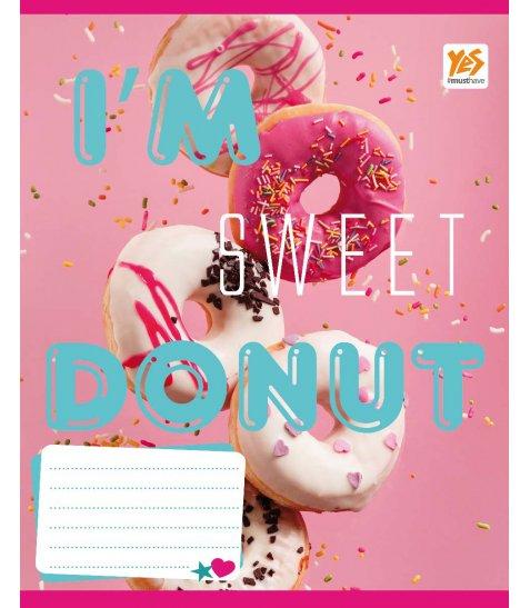 А5 / 48 кл. YES УФвиб + гліттер. Sweet cupcakes-17, зошит