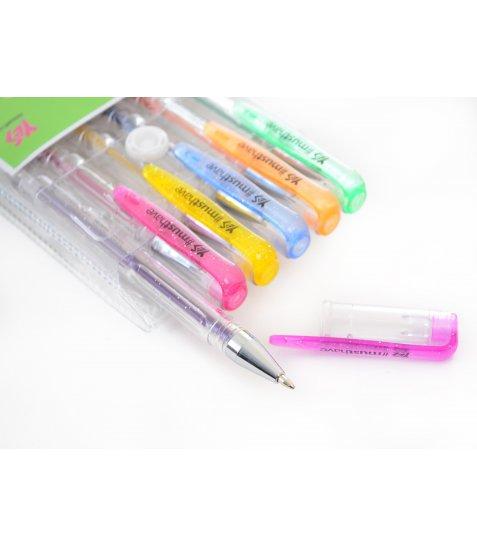 """Ручки гелеві YES """"Glitter"""", 6шт./наб."""