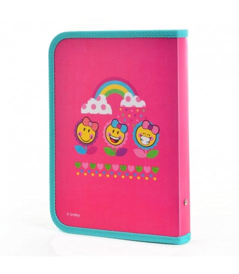 """Папка для зошитів пласт. на блискавці B5 """"Smiley World""""(pink)"""