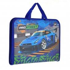 """Папка-портфель на блискавці з тканинними ручками """"Street racing"""""""