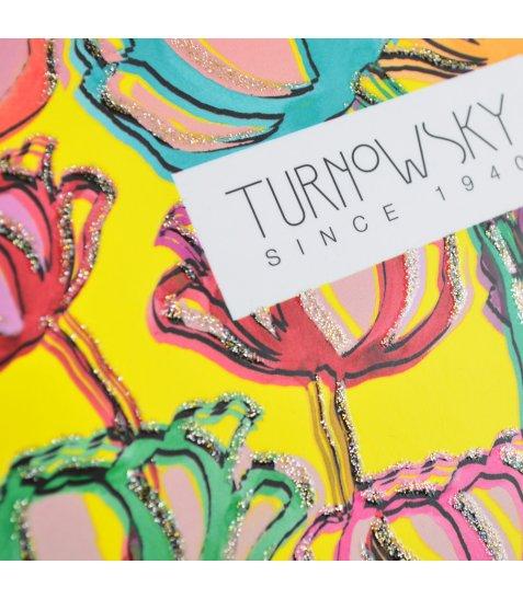 """Блокнот 150 * 150/64 інтег., Пантон жовтий, гліттер, мат.ламінація """"Turnowsky. Flowers"""" YE"""