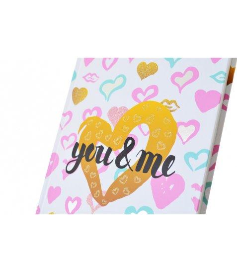 """Блокнот А4 / 160 7БЦ, фольга срібло, гліттер, мат.ламінація """"Love is ..."""" YES"""