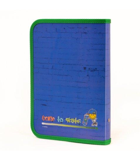 """Папка для зошитів пласт. на блискавці B5 """"Smiley World""""(blue)"""
