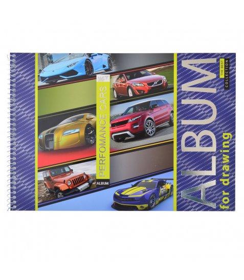 """Альбом для малювання А4 20л/100 """"Performance cars"""" на спіралі мат.лам+УФ-виб+фол сер YES"""