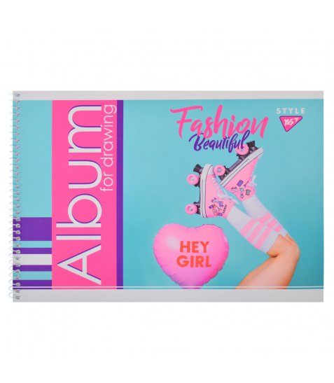 """Альбом для малювання А4 20л / 100 """"Fashion beauty"""" на спіралі мат.лам + неон + софт-тачYES"""