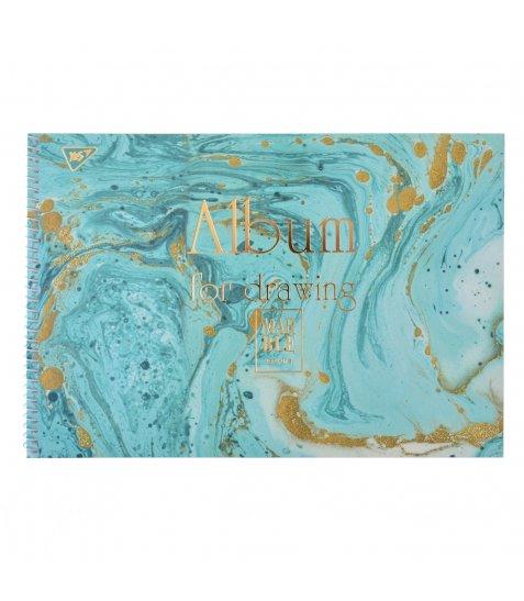 """Альбом для малювання А4 30л / 100 """"Marble"""" на спіралі мат.лам + гліт зол + фольга зол YES"""