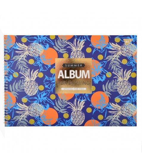 """Альбом для малювання А4 30л / 100 """"Flower pattern"""" на спіралі мат.лам + гліт + фол зол YES"""