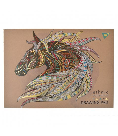 """Альбом для малювання А4 40л / 100 склейка бел + фол зол """"Ethnic horse"""" YES крафт"""
