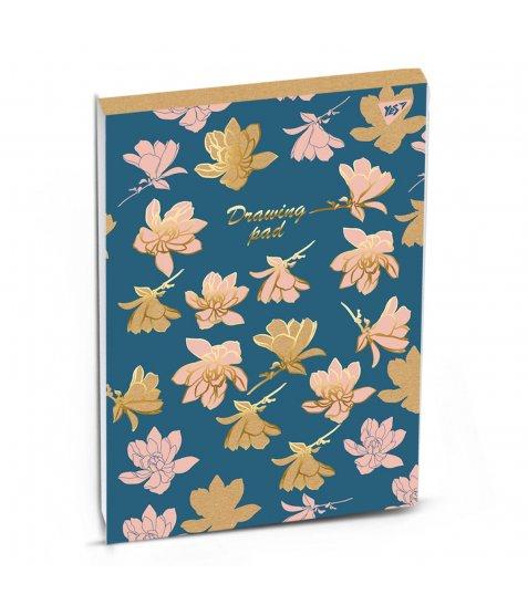 """Альбом для малювання А4 40л/100 склейка білила+фол.золото """"PASTEL FLOWERS"""" YES крафт"""
