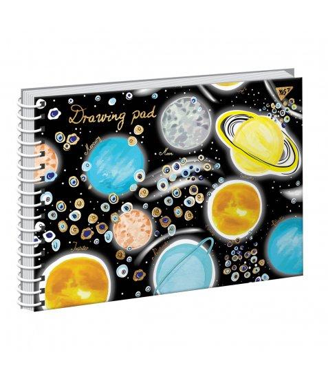"""Альбом для малювання А4 20арк./100 """"Cosmic system"""" на спіралі фольга золото+софт-тач+УФ-ви"""