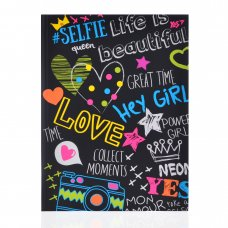 """Notebook А5/64 square flexible cover, neon+soft-touch lacquer """"Black neon"""" YES"""
