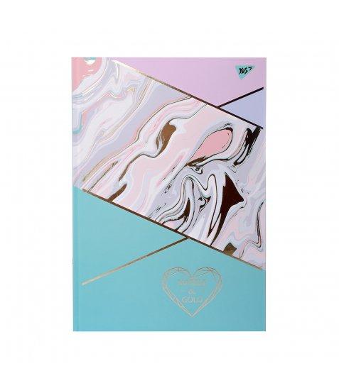 "Блокнот для записів А4/96 лін. 7БЦ, мат. лам.+фольга золото+УФ.выб ""MARBLE&GOLD"" YES"