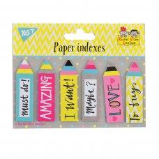 """Індекси паперові  YES """"Rachel Pencils"""", 50*15мм, 120 шт (6*20)"""