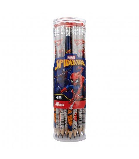 """Олівець YES ч/гр круг. з ласт.  в пл. тубе """"Marvel. Spider-man"""", 36шт/уп"""