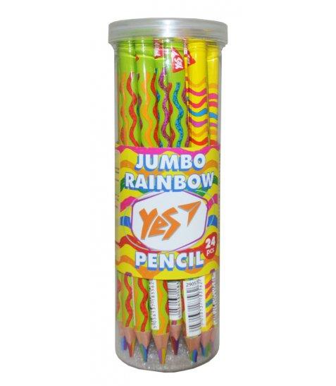 """Олівець YES Jumbo """"Rainbow"""" з шестиколірним грифелем, трикутний"""