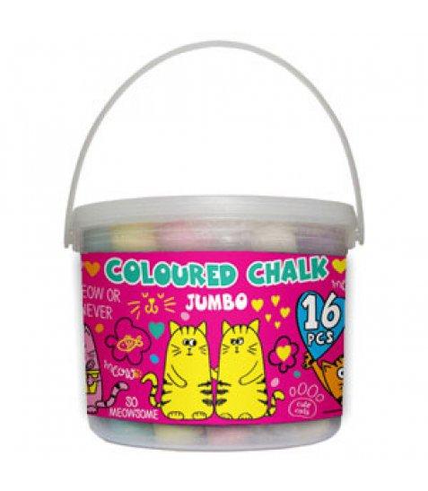 """Крейда кольорова 16 шт. JUMBO в відрі """"Lovely cats"""""""