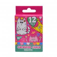 """Крейда кольорова квадратний 12 шт. """"Lovely cats"""""""