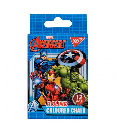 "Крейда кольорова YES кругла, 12 шт ""Marvel.Avengers"""