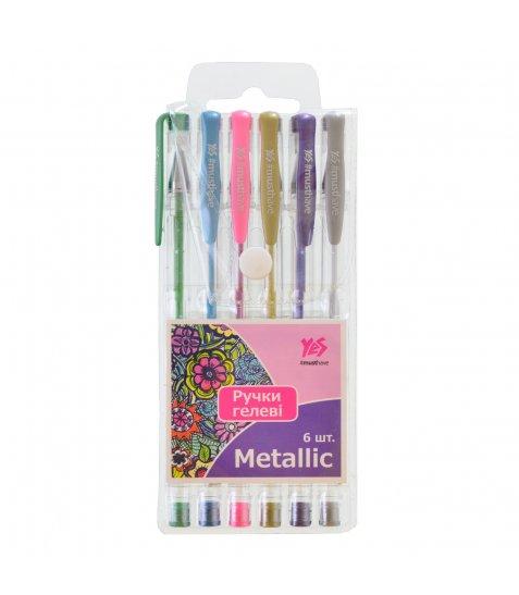 """Ручки гелеві YES """"Metallic"""" 6 кольорів/PVC"""