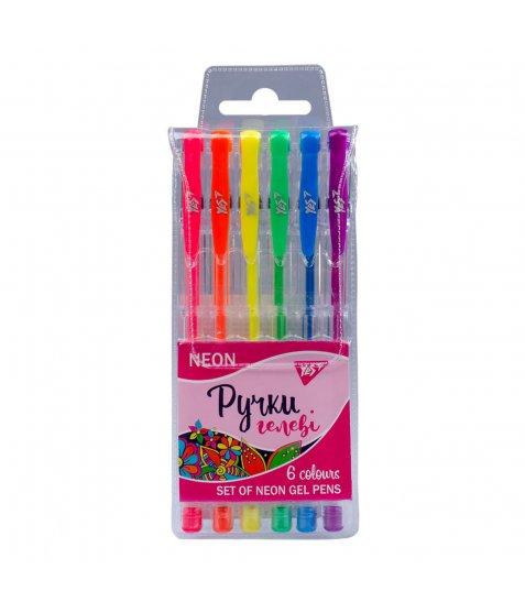 """Ручки гелеві YES """"Neon"""", неон, набір, 6 шт."""