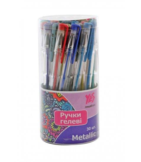 """Ручка гелева YES """"Metallic"""" 30 кольорів/тубус"""