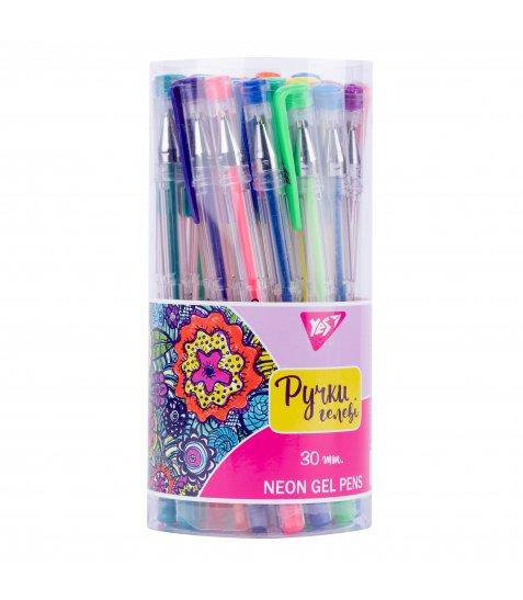 "Ручка гелева YES ""Neon"" 30 кольорів/тубус"
