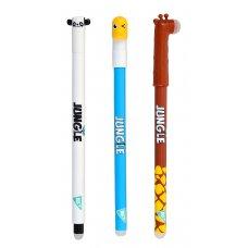 """Ручка гелева YES пиши-стирай """"Jungle"""", 0,5мм, синя, мікс 3 диз"""