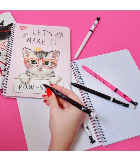 "Ручка YES шарико-масляна ""Hello Kitten"", 0,7 мм, синя"