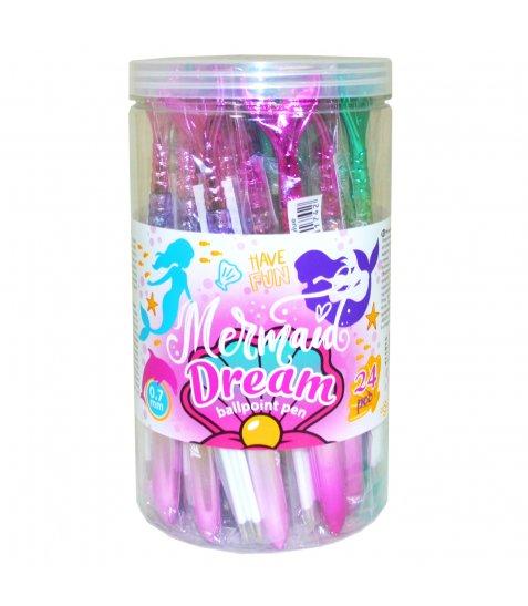 """Ручка YES кульково-масляна """"Mermaid dream"""" із рідиною та глітером, 3 стрижня в комплекті,"""
