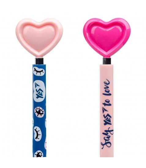 Ручка YES кульково-масляна «Big Heart», автоматична 0,7мм, синя, 2 диз