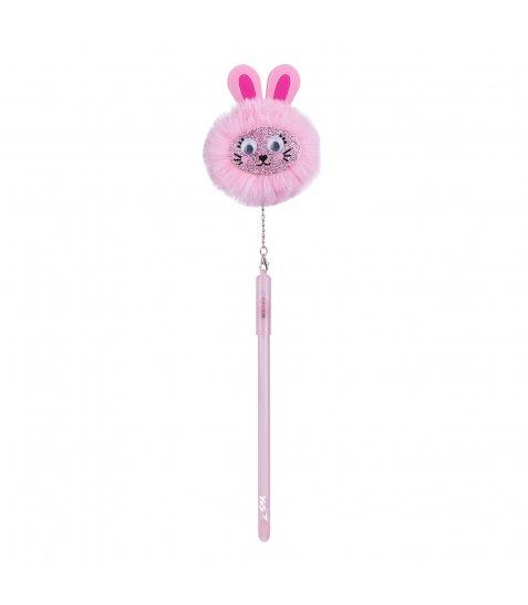 """Ручка-пушистик  кулькова """"YES"""" з підвіскою """"Bunny"""", 0,7 мм, синя"""