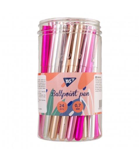 "Ручка кулькова YES ""Shiny"", 4 кол., 24 шт/туб"