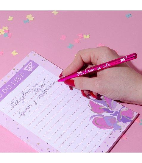 """Ручка кулькова YES """"Happy pen"""", рож., 1шт/уп"""
