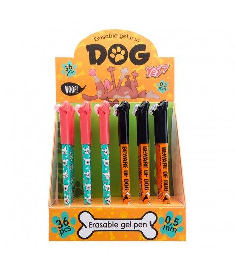 "Ручка YES гелева пиши-стирай ""Dog"" 0,5 мм, синя, мікс 2 диз"