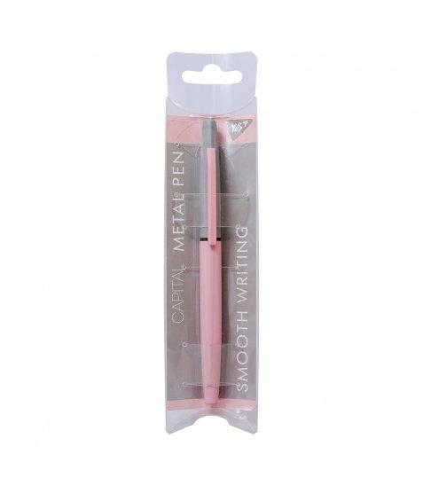 """Ручка кулькова YES """"Capital"""" pink, 0,7 мм, синя"""