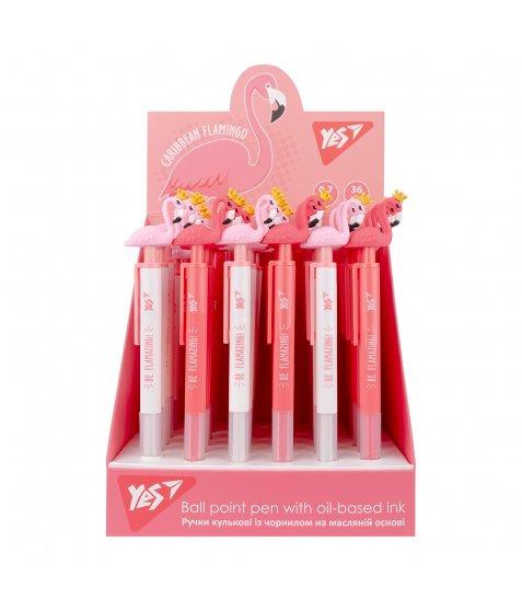 Ручка масляна YES «Caribbean flamingo» автоматична, з короною, 0,7 мм, синя