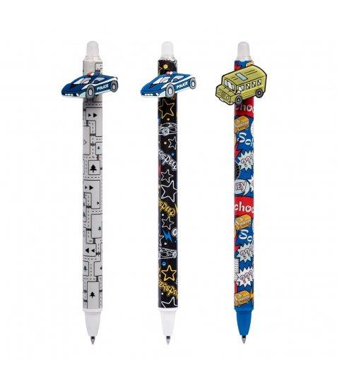 Ручка гелева YES  пиши-стирай «Fast wheels» автоматична, 0,5 мм, синя