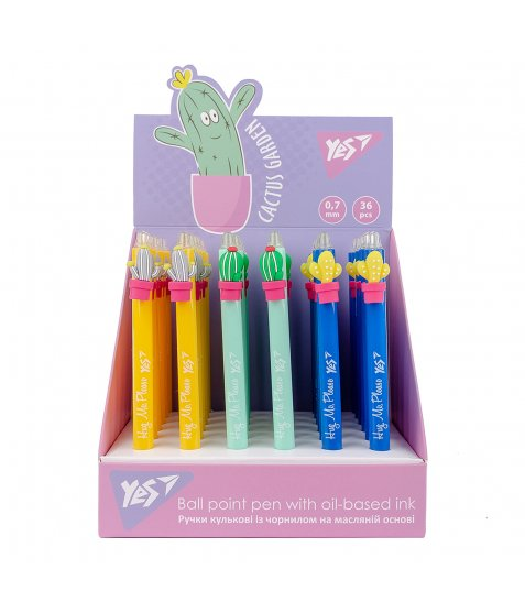"Ручка масляна YES ""Cactus garden"" автоматична,  0,7 мм, синя"