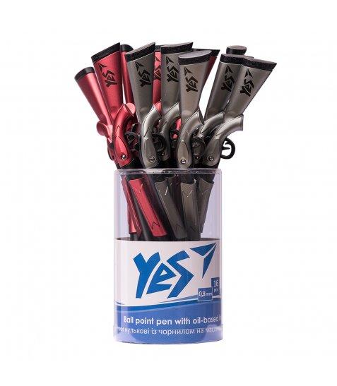 Ручка YES кульково-масляна «Gun», 0,8мм, синя