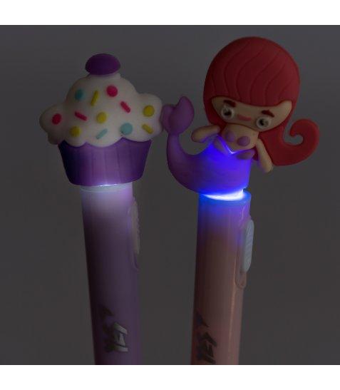 Ручка YES кульково-масляна «Sweet Mermaid», 0,8мм, синя, LED
