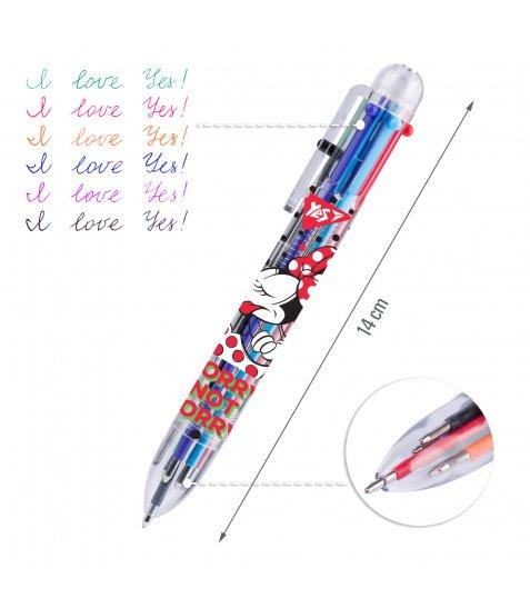 """Ручка кулькова YES """"Minnie Mouse"""", 1,0 мм, 6 кольорів"""