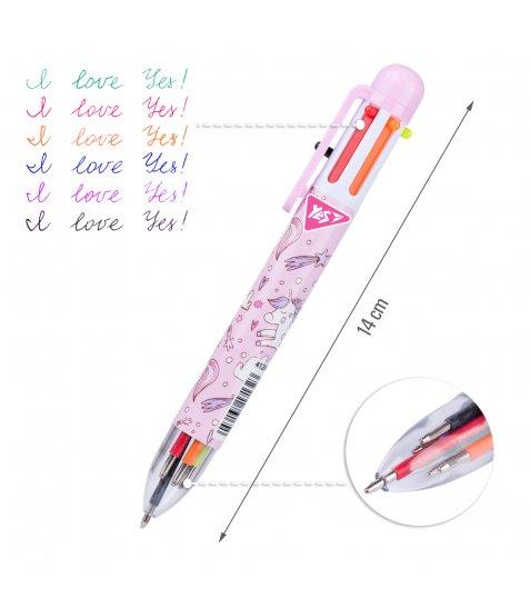 """Ручка кулькова YES """"Unicorn"""", 1,0 мм, 6 кольорів"""