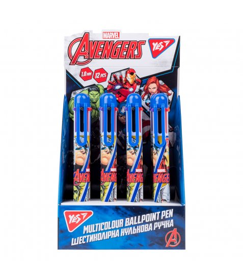 """Ручка кулькова YES """"Marvel"""", 1,0 мм, 6 кольорів"""