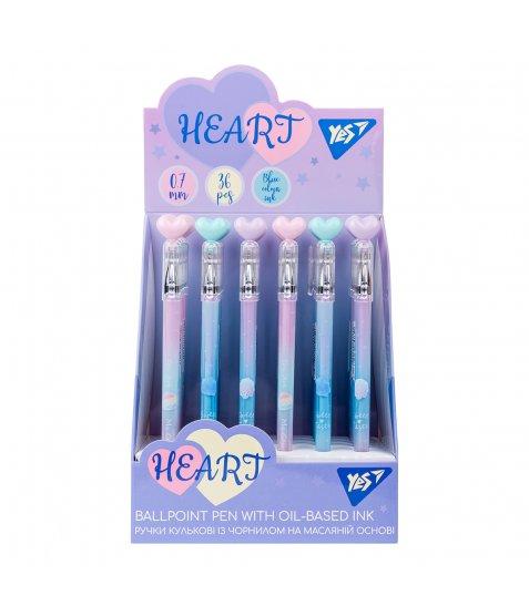 Ручка YES кульково-масляна «Heart», 0,7мм, синя