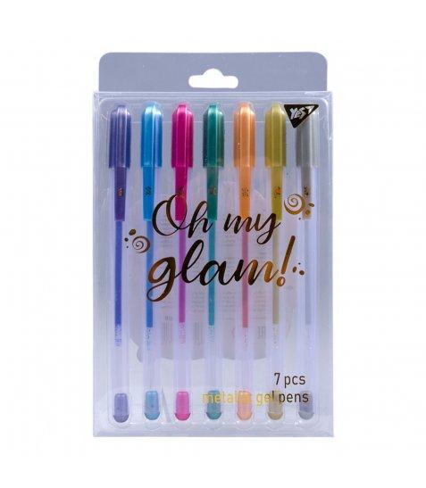 """Ручки гелеві  YES """"Oh My Glam!"""", металік, набір 7шт. - фото 1 з 4"""