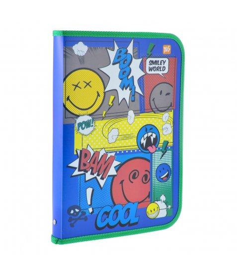 """Папка для праці пласт. на блискавці з внутр. кишенею А4 """"Smiley World""""(blue) 491323"""
